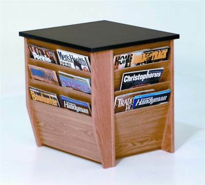Solid Wood End Table w Black Top & Magazine Pockets [ID 376491]