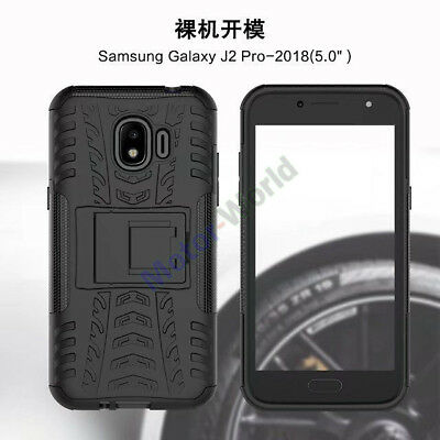 For Samsung Galaxy J2 Pro 2018 Rugged Hybrid Armor Shockproof Case Stand Cover