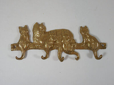 Vintage Cast Brass Mother Cat With Kittens Tails Wall Keys Holder Retro Decor