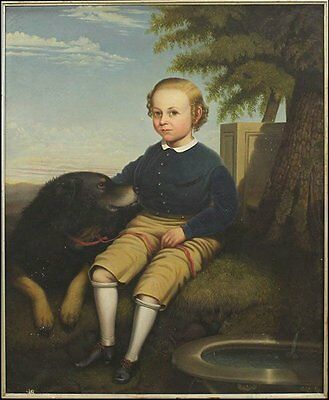 VERY LARGE BEAUTIFUL 19th C Portrait of a Boy and his Dog Ben Cooley, c.1864