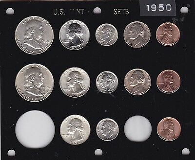 1950 P-D-S US Mint set-13 coins- Brilliant Uncirculated in Black Capital holder