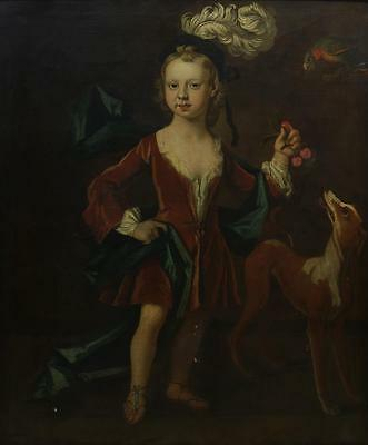 BEAUTIFUL ANTIQUE RARE ORIGINAL LARGE 17th C, 18th C PORTRAIT PAINTING OF A BOY