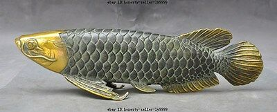 """11"""" old china bronze gilt fengshui Auspicious lucky animal fish gold fish statue"""