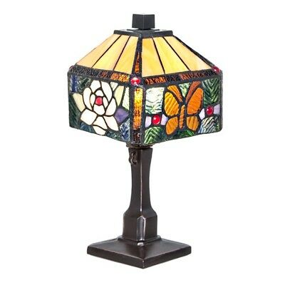 Tiffany Style Rose Flower Butterfly Table Lamp Stained Glass Unique Square Shape
