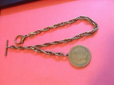 Vintage Heavy Duty Brass Tripple Link Pocket Watch Chain Large Coin Fob