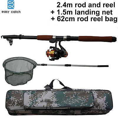 2.4M Telescopic Fishing Rod & Reel Combos Fishing Rod Reel Kit with Hand Nets