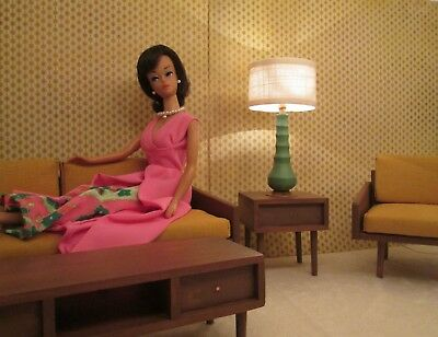 mid century modernstyle working lamp for your Vintage Barbie doll house diorama