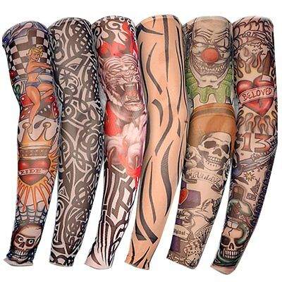 6Pcs Outdoor Skin Arm tattoo Sleeve Cooling Cover Sun protective Stretch Armband