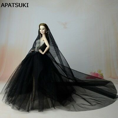 Black Party Dress For Barbie Doll Clothes Long Tail Evening Gown Clothes & Veil