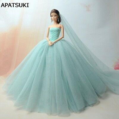 Doll Dresses Clothes Wedding Dress For Barbie Dol lLong Tail Evening Gown  +Veil