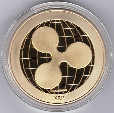 Ripple Coin XRP!!  Gold Plated Iron in protective acrylic case FAST SHIPPING