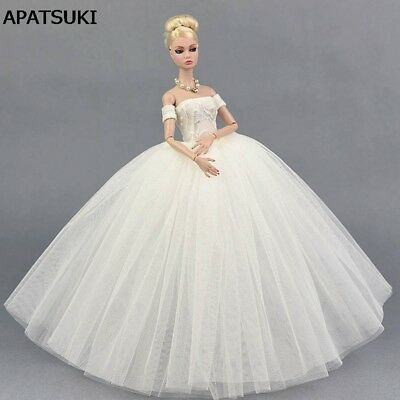 Pure White Wedding Dress for Barbie Doll Evening Party Clothes for Barbie Dolls