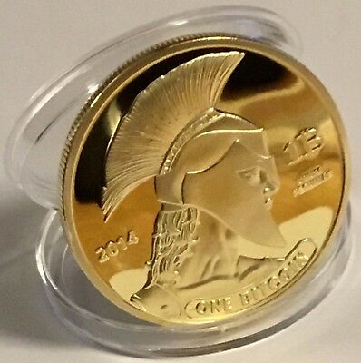 BITCOINS!! Gold Plated .999 fine copper Titan novelty Physical Bitcoin In Case!