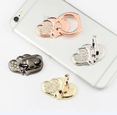 Universal 360 Rotating Finger Ring Stand Holder For Cell Phone - DOUBLE HEARTS