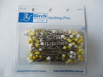 Birch Pins Yellow And White Pack Of 300 Pins*Quilting 024139