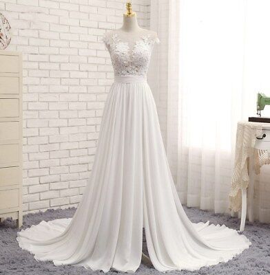 74203bad2e1a0 Chapel Long Train Beach Wedding Dress Bridal Gown Cap Sleeves Lace A Line  Boho