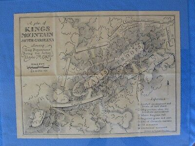 Map of Battle of Kings Mountain South Carolina Showing Troop Dispositions, 1780