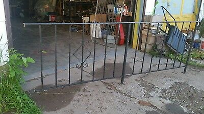 vintage black wrought iron? hand railing fence guard approximately 8 ft long