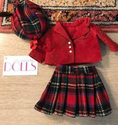Great age unknown red and green plaid outfit for antique/vintage F&B Patsy