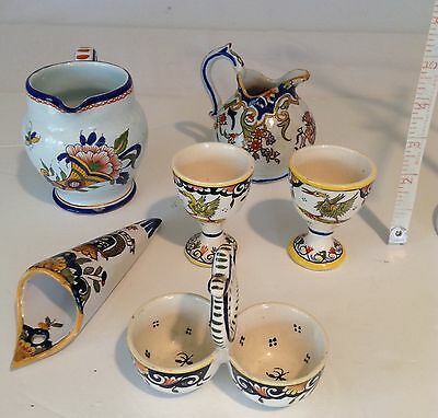 Antique French Majolica 6 Pieces
