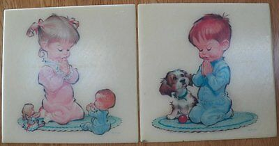 Vtg 1962 PETE HAWLEY lot of 2 Boy/Girl NURSERY Wall Plaques Tiles Praying/Prayer