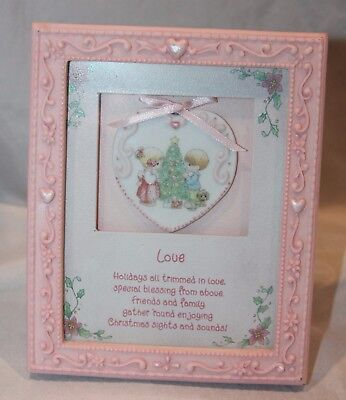 1996 Precious Moments Christmas PICTURE FRAME Desk Top / Wall Decoration