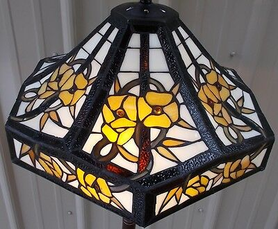 "Large 18"" Tiffany Style Stained Glass 6 Sided Floral Lamp Shade"