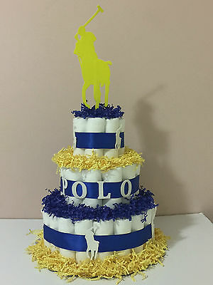 3 Tier Diaper Cake Polo Ralph for Baby Shower Girl or Boy