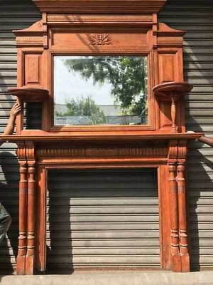 Oak Fire Place Mantel with Mirrored Top- Beautiful- Antique- Historical Salvage