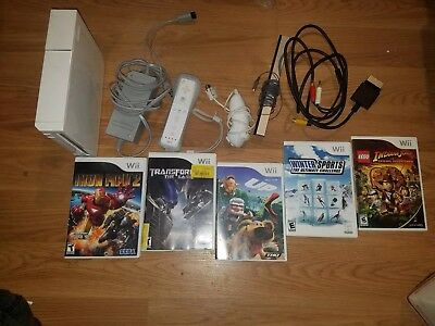 Nintendo Wii White Console  Bundle w/ 5 Games