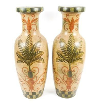 A Large Pair Of Tuscan Inspired Ceramic Vases