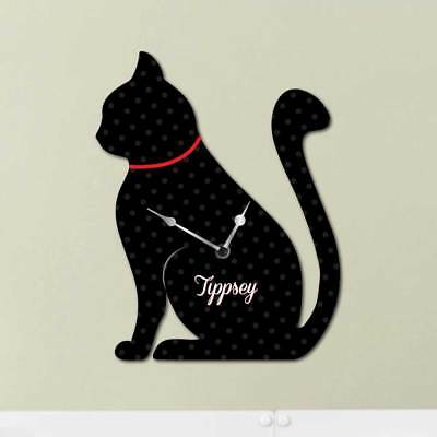 Personalised Cat Clock, Cute Cat Shaped Wall Clock, Cat lovers gift, Cat Sign