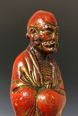 Unusual Antique Chinese Carved Soapstone Statue Of Figure W Lacquer + Gilt