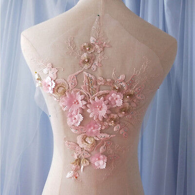 Bridal Dress Lace Applique Beaded Wedding Motif Floral Pink DIY Lace Trim 1 PC