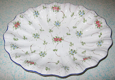 "Scalloped 12"" Serving Bowl Castelli Italy L. Pardi Cottura Flowers Floral #1161"