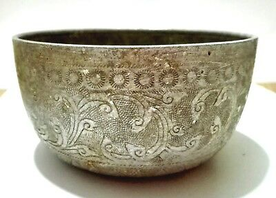 asian antique thailand  aluminium bowl handmake old VTG art