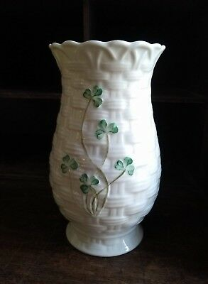 "Belleek Vase 6"" Shamrock Clover Basketweave White Kylemore Irish Porcelain"