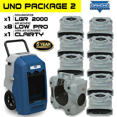 Diamond UNO Resto Pack 2; 1 Dehu, 1 Air Scrubber, & 8 Low Profile Air Movers