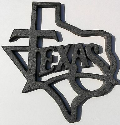 Large State of Texas Outline Plaque Trivet Cast Iron Lone Star Western Decor