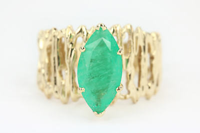 Vintage 2.20 Cts Genuine Emerald marquise womans Solid Gold ring 14k yellow gold