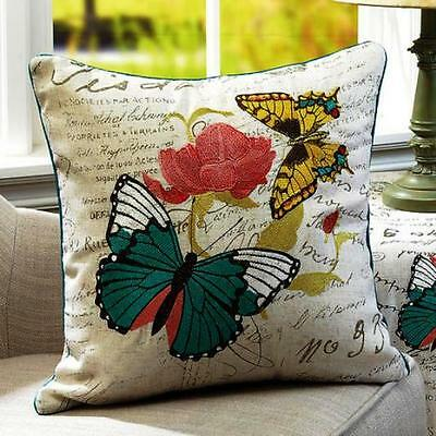 """Vintage-Style Embroidered Butterfly Flower 16"""" Pillow Parisian French Country"""