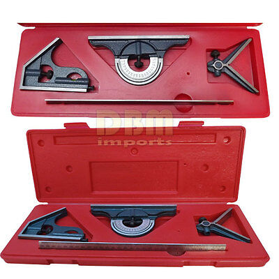 """Stainless Steel 4 PC Combination Square Head 12"""" 4R Center Protractor Blade"""
