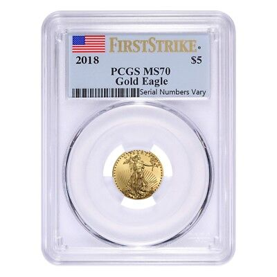 2018 1/10 oz Gold American Eagle PCGS MS 70 First Strike