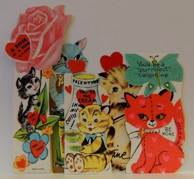 #241 Vintage Valentine Card Lot Kitty Cats Milk Play Fiddle Pink Rose   Nos