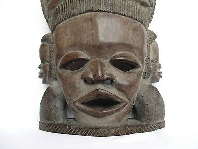 Old African Nigerian Tribal Art , Large & Heavy Hand-Carved Wooden Mask,