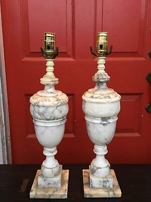Pair of Vintage Italian Neoclassical Solid White and Black Marble Urn Lamps