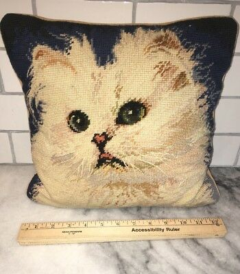 Vintage White CAT Pillow Vintage Needlepoint Cat Lovers Home Decor