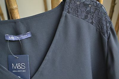 NEW MARKS AND SPENCER LADIES STUNNING BLACK  DRESS with lace   SIZE 26 £49.50