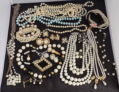 Large Lot of Vintage to Now Faux Pearl Jewelry 29 Pieces Necklaces Bracelets Ear