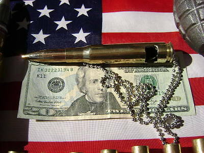 "50 cal bmg Bullet BOTTLE OPENER   Necklace PENDANT Military 28"" BALL CHAIN"